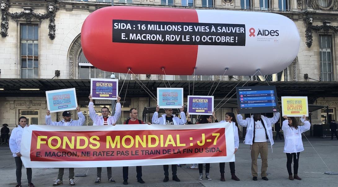 Aides à Lyon, avant la conférence mondiale pour le fonds de lutte contre les maladies infectueuses