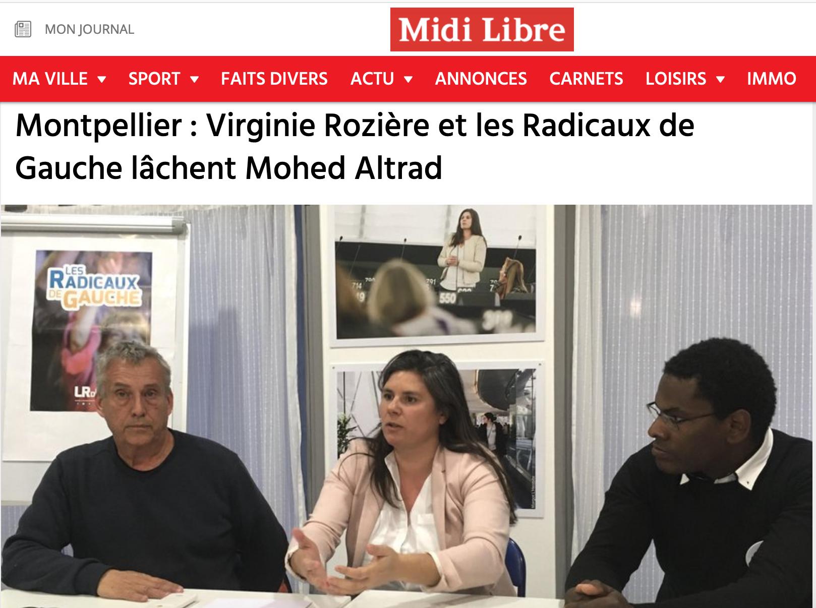 Midi Libre Virginie Rozière quitte la liste de mohed Altrad