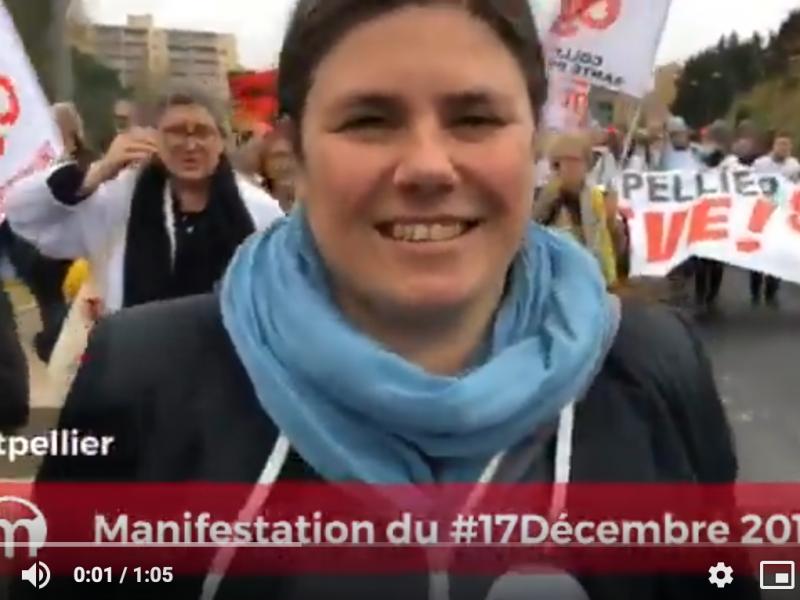 le mouvement.info iterview de virginie rozière lors de la manifestation du 17 décembre contre la réforme des retraites