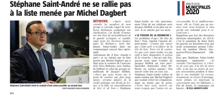 Béthune: Stéphane Saint-André ne se rallie pas à la liste menée par Michel Dagbert