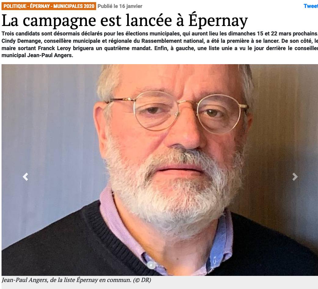 l'hebdo du vendredi epernay - Jean-Paul Angers mènera une liste de gauche unie